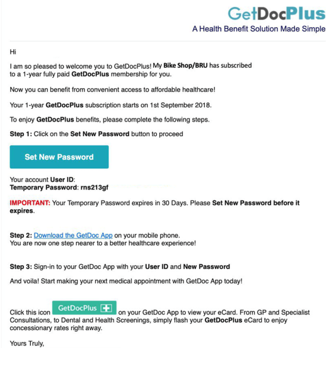 Sample of Email to MBS BRU cardholder