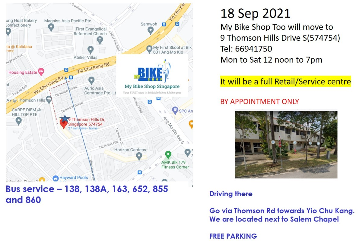 18 Sep – MBS Too moves to 9 Thomson Hills (and you will get to testbikes)